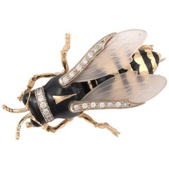 Enamel and Diamond Wasp Brooch
