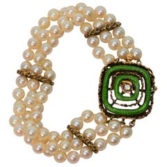 Enamel and Gold Charm Pearl Bracelet with Diamond Accent