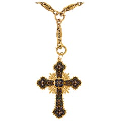 Enamel and Gold Cross Pendant Necklace