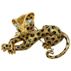 Enamel and Gold Panther Brooch by Fred, Paris