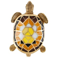 Enamel and Gold Turtle Pin