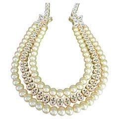 Enamel and Rhinestone Faux Pearl Reversible Choker Necklace