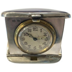 Enamel and Silver 1920s Antique Travel Clock