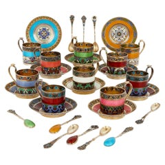Enamel and Silver-Gilt 10-Person Coffee Service by 11th Artel