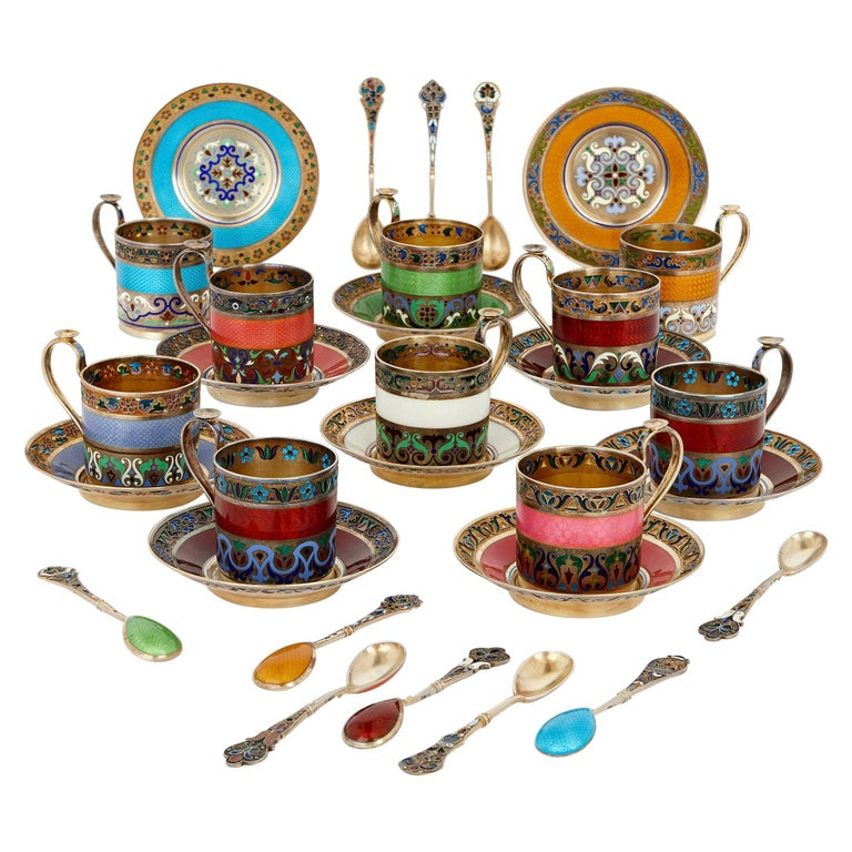 Enamel and Silver-Gilt 10-Person Coffee Service by 11th Artel For Sale