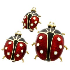 Enamel and Yellow Gold Ladybird Brooches Vintage, 1980