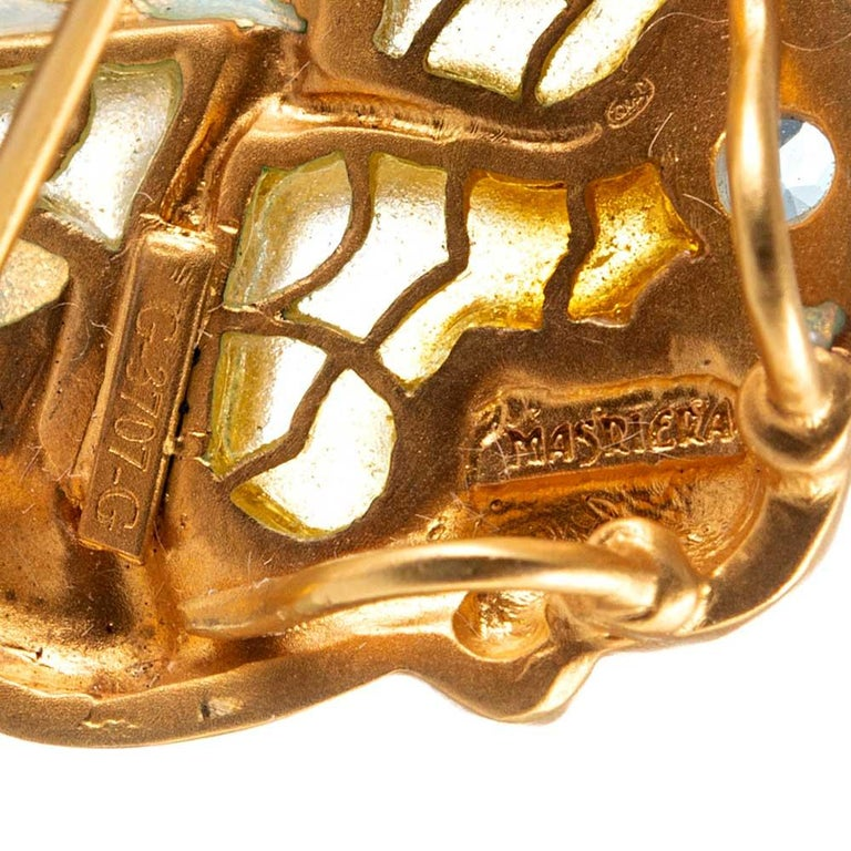Women's or Men's Masriera Enamel and Aquamarine Gold Pin Pendant For Sale