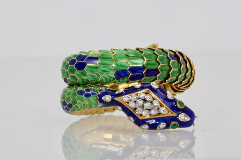 Enamel Articulated Snake Serpent Bracelet Diamond Head 18 Karat For Sale 5