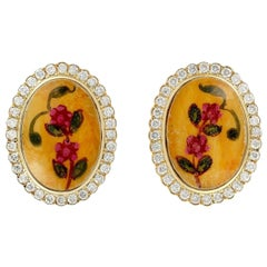 Enamel Bakelite Floral Diamond 18 Karat Gold Stud Earrings