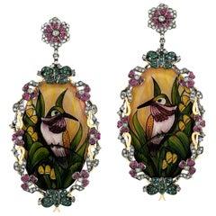 Enamel Bakelite Hand Painted Emerald Ruby Diamond Earrings