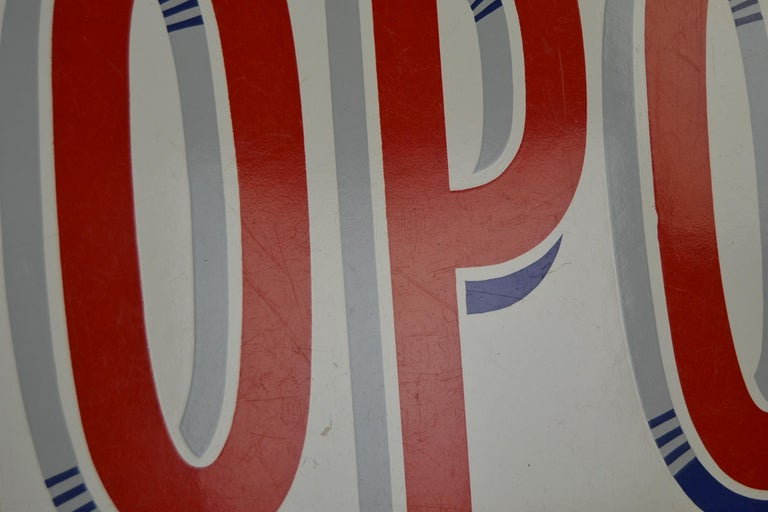 Enamel Belgian Beer Sign, Three Stars Leopold, 1950s, White, Red and Blue For Sale 4