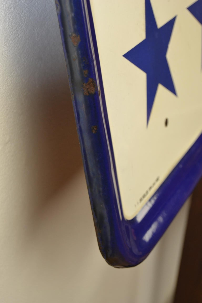 Enamel Belgian Beer Sign, Three Stars Leopold, 1950s, White, Red and Blue For Sale 5