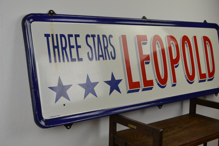Enamel Belgian Beer Sign, Three Stars Leopold, 1950s, White, Red and Blue For Sale 8