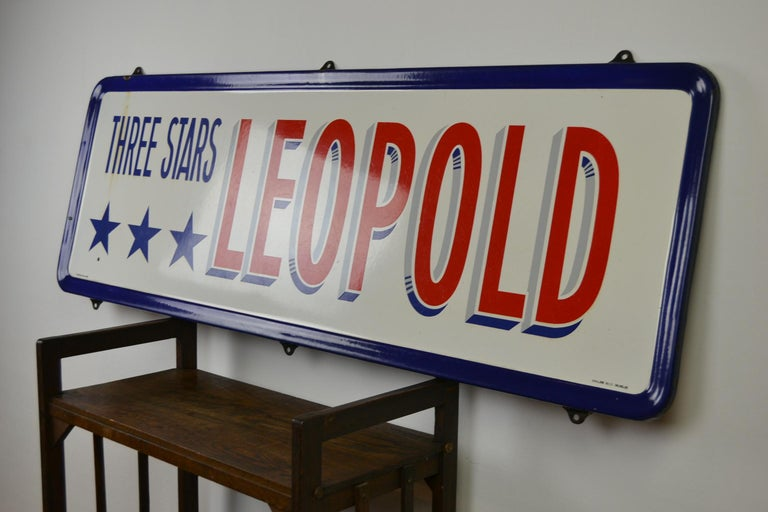 Enamel Belgian Beer Sign, Three Stars Leopold, 1950s, White, Red and Blue For Sale 10