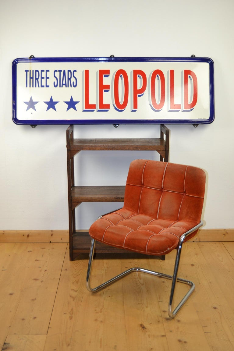 Enamel Belgian Beer Sign, Three Stars Leopold, 1950s, White, Red and Blue For Sale 12