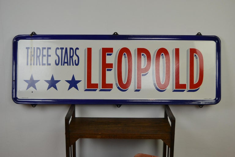 Enameled Enamel Belgian Beer Sign, Three Stars Leopold, 1950s, White, Red and Blue For Sale