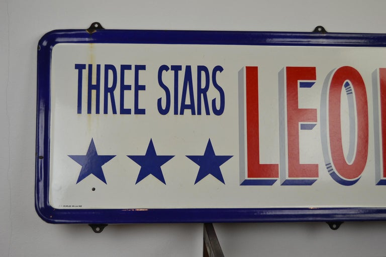 Enamel Belgian Beer Sign, Three Stars Leopold, 1950s, White, Red and Blue In Good Condition For Sale In Antwerp, BE