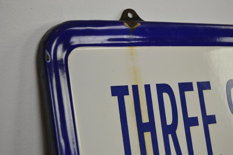 Metal Enamel Belgian Beer Sign, Three Stars Leopold, 1950s, White, Red and Blue For Sale