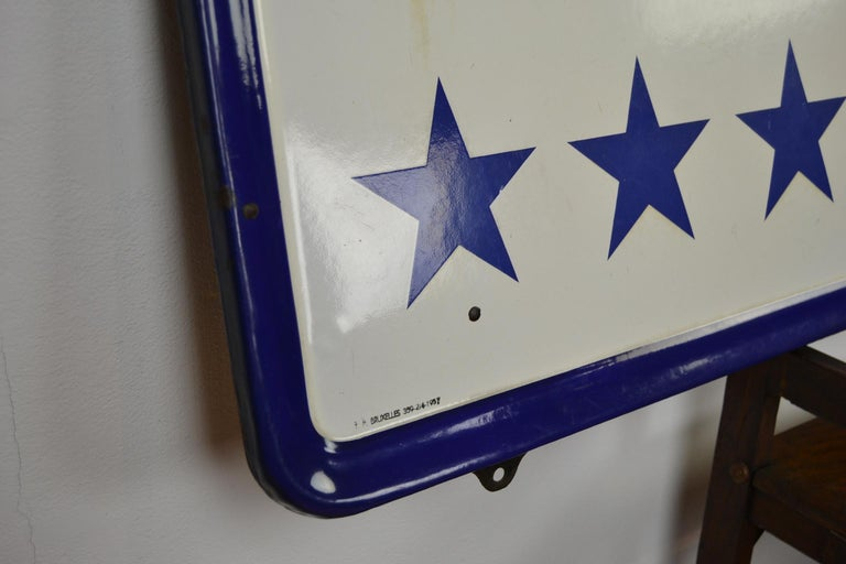 Enamel Belgian Beer Sign, Three Stars Leopold, 1950s, White, Red and Blue For Sale 1
