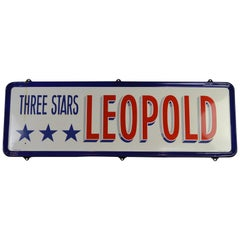 Enamel Belgian Beer Sign, Three Stars Leopold, 1950s, White, Red and Blue