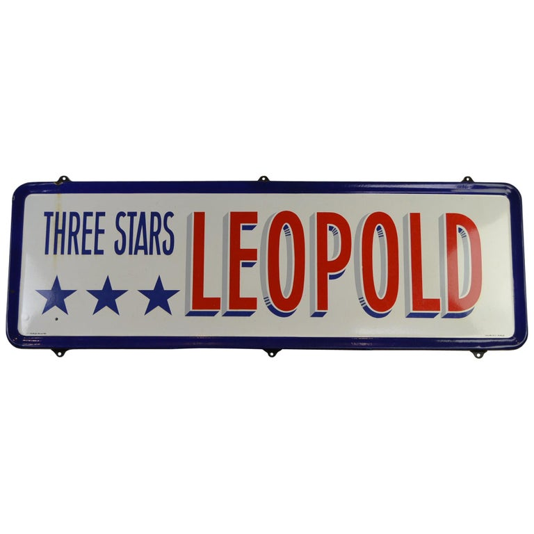 Enamel Belgian Beer Sign, Three Stars Leopold, 1950s, White, Red and Blue For Sale