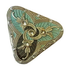Enamel Black and Green Blue Brooch Pin Detailed with Lacquer and Rhinestones