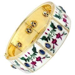 Enamel Blue Sapphire Diamond Bangle Bracelet