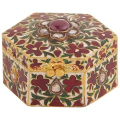 Enamel Box with Diamond and Rubies Handcrafted in 18 Karat Gold