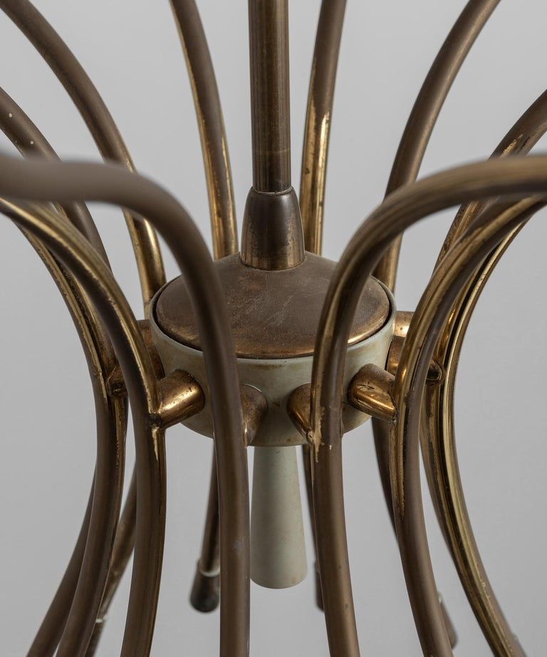 Enamel and Brass Modern Chandelier, Italy, 1960 For Sale 1