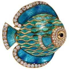 Enamel Brooch, Pendant, as Exotic Ornamental Fish, 18 Karat Gold and Diamonds