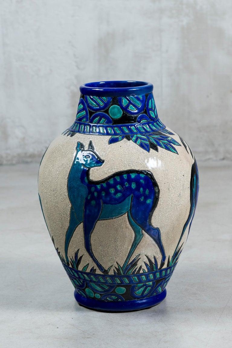 Enamel ceramic flower vase by Charles Catteau signed Boch La Louvière. Art Deco period. Belgium, circa 1920.