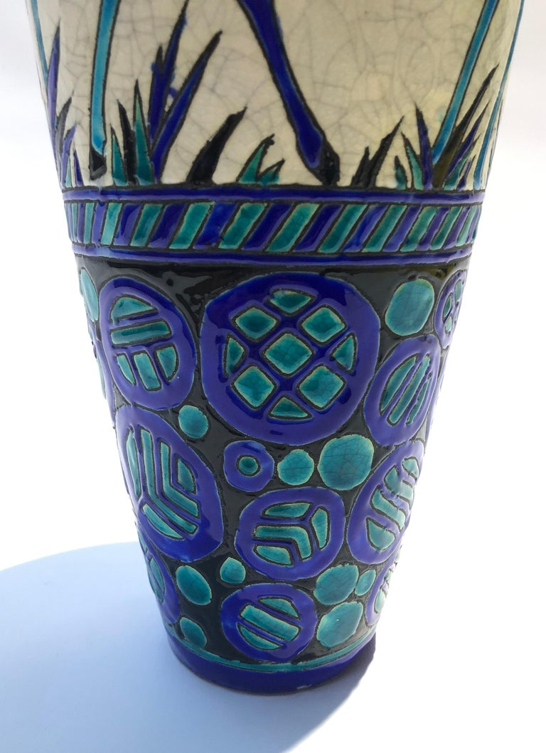 Belgian Enamel Ceramic Flower Vase by Charles Catteau Signed Boch La Louvière For Sale