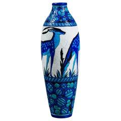 Enamel Ceramic Flower Vase by Charles Catteau Signed Boch La Louvière