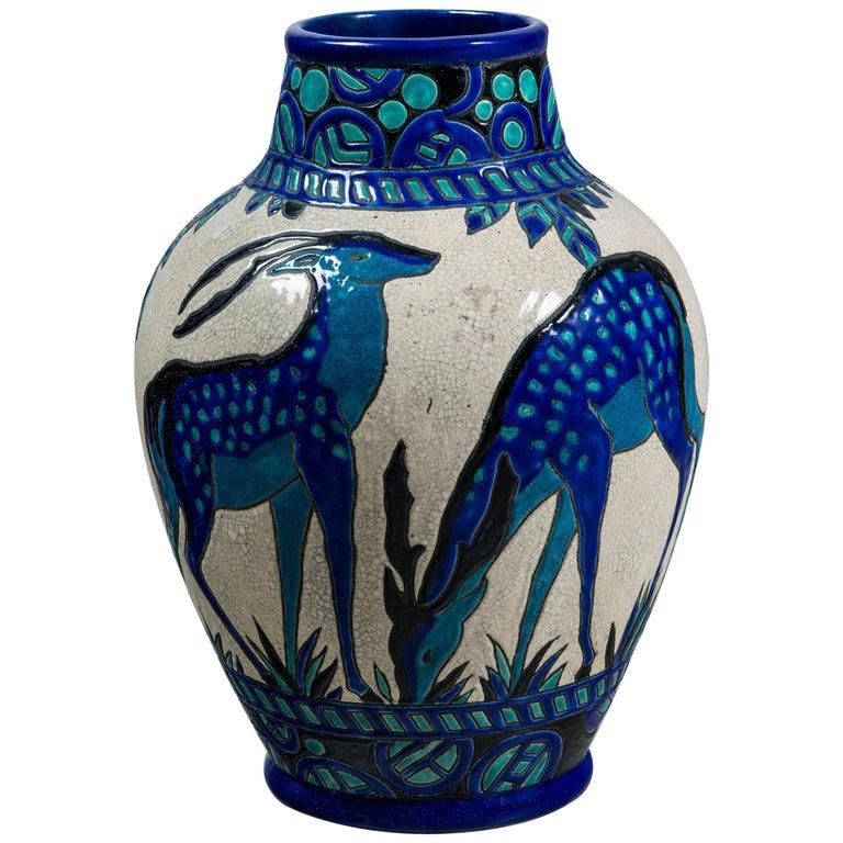 Enamel Ceramic Flower Vase by Charles Catteau Signed Boch La Louvière For Sale