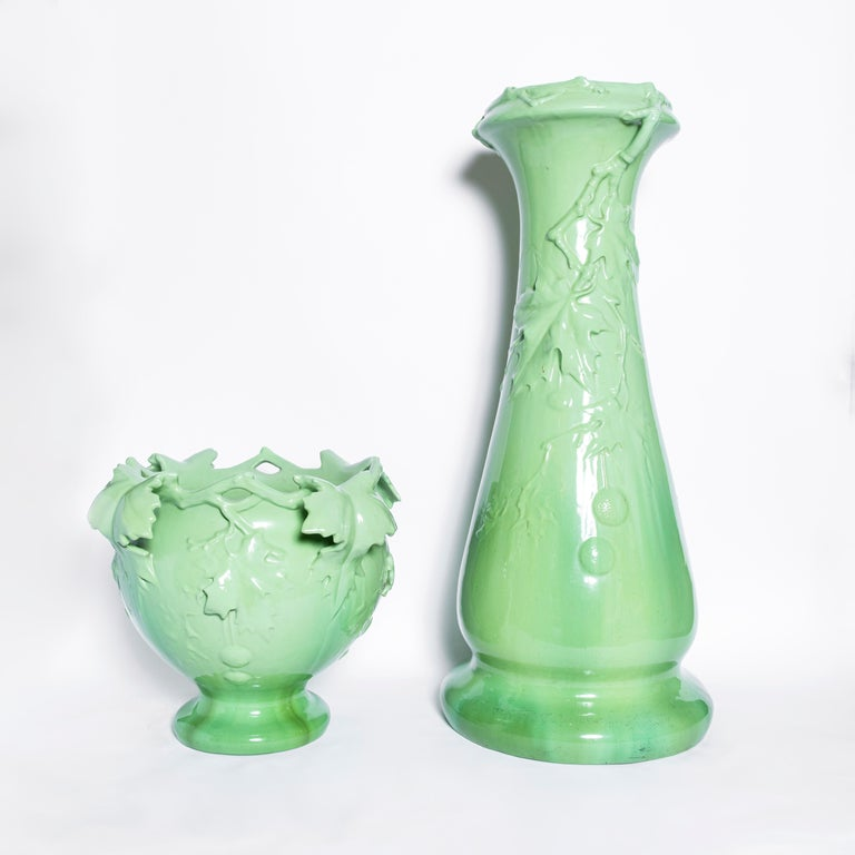 French Enamel Ceramic Planter, Art Nouveau Period, France, Early 20th Century For Sale