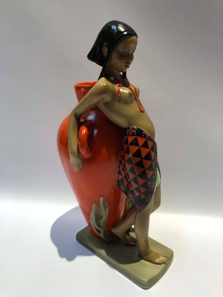 Enamel ceramic sculpture by Abele Jacopi (1882-1957) signed Lenci. Art Deco period, Italy, circa 1950.