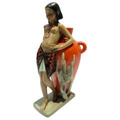 Enamel Ceramic Sculpture by Abele Jacopi Signed Lenci, Italy