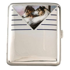 Enamel Cigarette Case with Two Collies