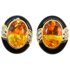 Enamel Citrine Diamond 18 Karat Gold Earrings