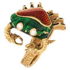 Enamel Crab Ring Vintage 18 Karat Yellow Gold Cancer Zodiac Sign Jewelry