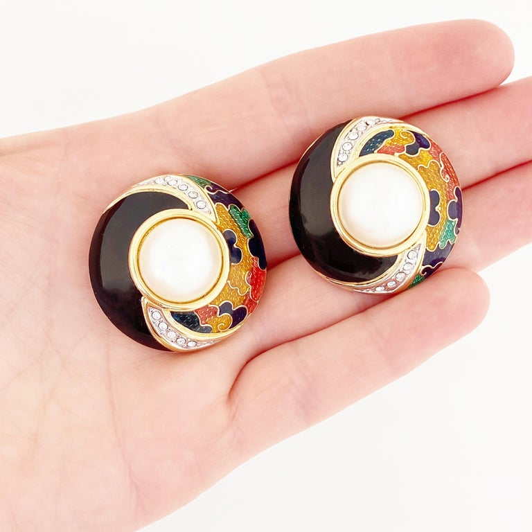 Women's or Men's Enamel, Crystal & Faux Pearl Domed Button Earrings By Guy Laroche, 1980s