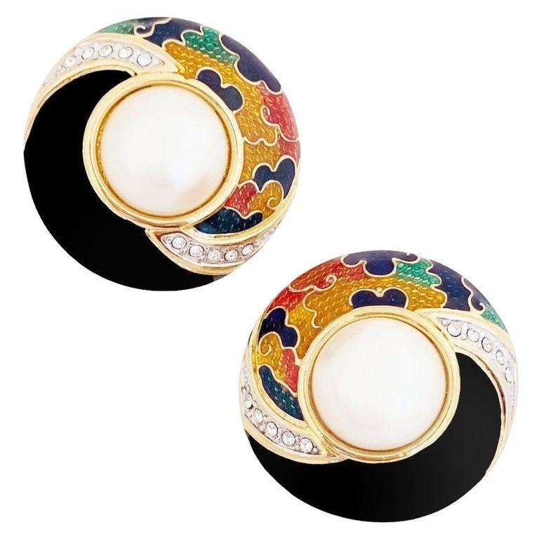 Enamel, Crystal & Faux Pearl Domed Button Earrings By Guy Laroche, 1980s