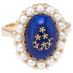 Enamel Cultured Pearl Princess Cocktail Ring Vintage 18k Yellow Gold Estate Fine