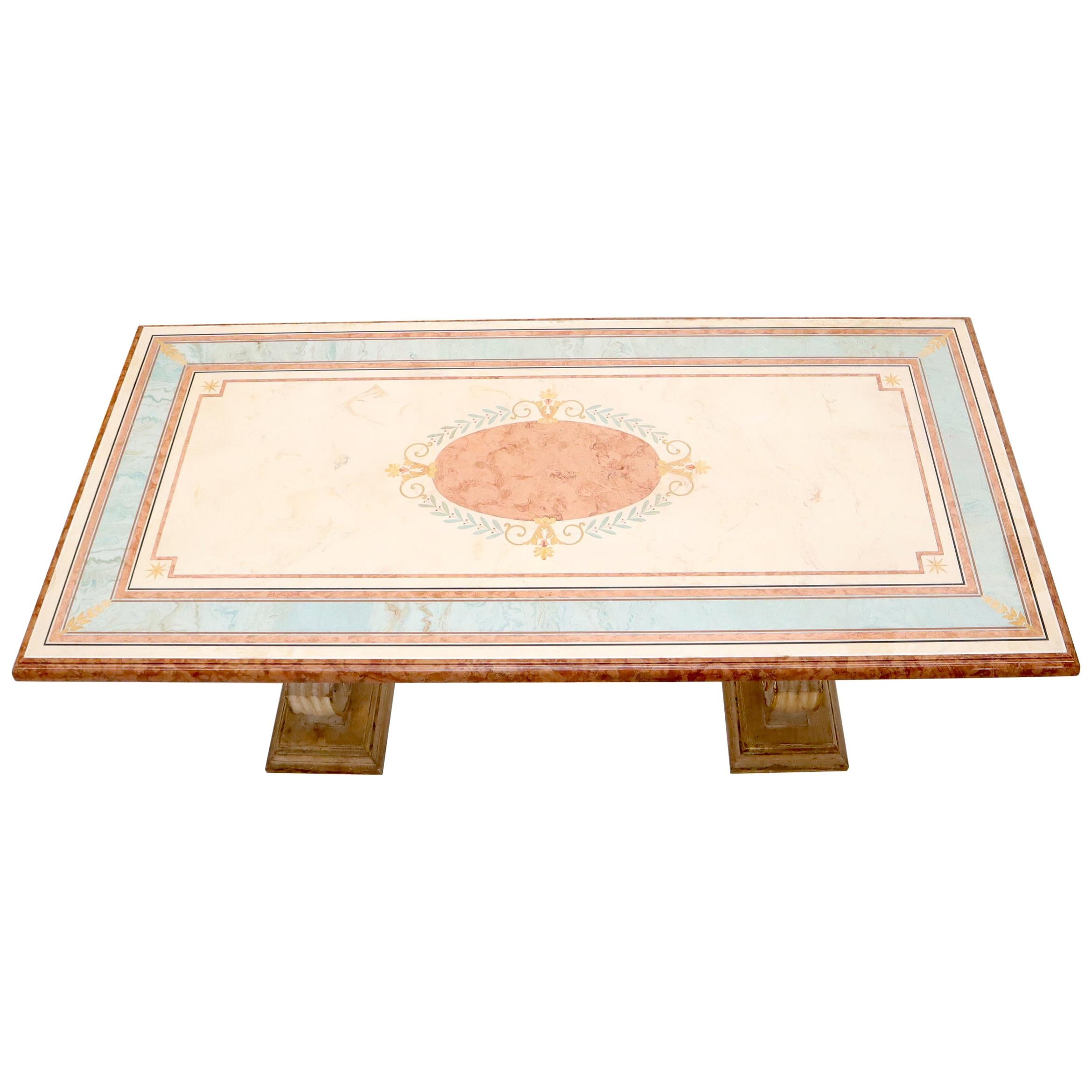 Enamel Decorated Marble Top Dining Table on Carved Gold Lyre Shape Pedestals
