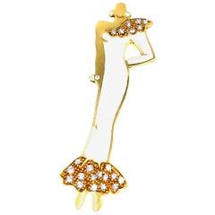 Enamel Diamond 18 Karat Gold Brooch