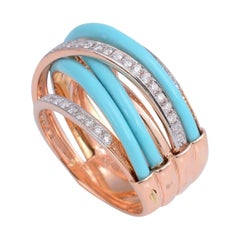 Enamel Diamond 18 Karat Gold Ring
