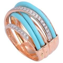Enamel Diamond 18 Karat Gold Ring