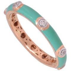 Enamel Diamond 18 Karat Gold Stack Ring