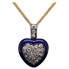 Enamel Diamond 18 Karat Yellow Gold Locket Circa 1900