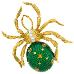 Enamel, Diamond and Citrine Spider Brooch